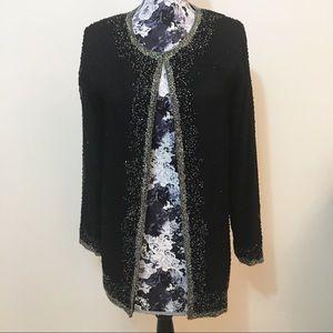 Vintage 100% Silk Beaded Cardigan